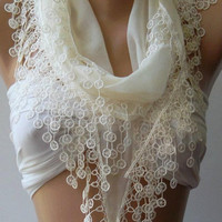 Ivory Beige Elegance Shawl / Scarf with Lace Edge by womann