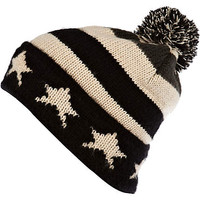 Black stars and stripes pattern beanie hat - hats - accessories - men