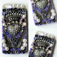 KEY to my HEART iPhone 5 Case // Purple White // Glass Beading with Crystal Heart Key Jewel Pearl Vintage Rhinestone Wings Crown