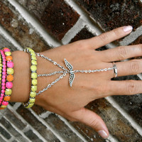 Neon Slave Bracelet Set with Angel Wings & by MermaidGlitterDesign