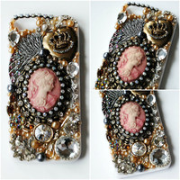 VICTORIAN GEM iPhone 5 Case // Gold Silver // Marie Antoinette Crown Wing Swarovski Crystal Vintage Pearl Rhinestone Scissors Lolita Collage