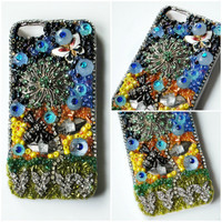MEADOW MARVEL iPhone 5 Case // Green Blue Orange Sunset // Vintage Flower Garden Butterfly Crystals // Kawaii Cute Girly Lolita Holder Cover