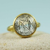 Gold Plated Round Black Rutiled Quartz Ring - gemstone ring | tooriginal - Jewelry on ArtFire