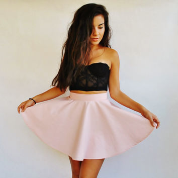 Blossom Pink Skater Skirt by VintageDivinitiess on Etsy