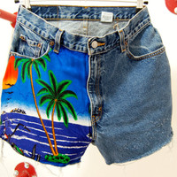 "ON SALE- was 55 now 30 Vintage High Waisted Frayed hawaien Print On Blue Levi Denim Shorts size 30"" loose fit"