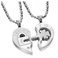 His & Hers Matching Set Open Your Heart Couple Titanium Pendant Necklace Simple Korean Love Style in a Gift Box (ONE PAIR):Amazon:Jewelry