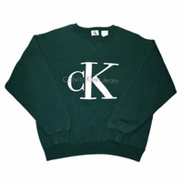 Vintage 90s Calvin Klein Green Crewneck Sweatshirt Made in USA Mens Size Small