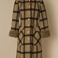 Womens 1960s Vintage Plaid FauxFur Trimmed by vintagesalvation