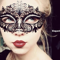 Classic Black Venetian Crown Metal Laser Cut Mask Masquerade Mask w/ High Quality Rhinestones