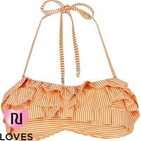 orange stripe seersucker frill bikini top - bikinis - swimwear / beachwear - women - River Island