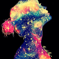 Galaxy Girl Print by KristaRaeArt on Etsy