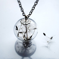 Dandelion Necklace 5 Specimen Wish Glass by NaturalPrettyThings