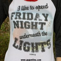 I Like to Spend Friday Night Underneath the Lights Heather Gray Baseball Tee