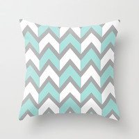 Minty Chevron Throw Pillow by Beth Thompson