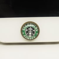 1PC Retro Epoxy Starbucks Coffee Transparent Time Gem Alloy iPhone Home Button Sticker for iPhone 4s,4g, 5, iPad Back to School Gift for Boy