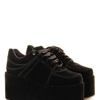Black High Platform Wedge Shoe at Fashion Union