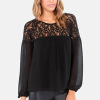 Flow-It-All Long Sleeve Black Lace Top