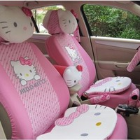 10PCS PINK UNIVERSAL HELLO KITTY CAR SEAT COVERS FRONT REAR COVER ACCESSORY SET