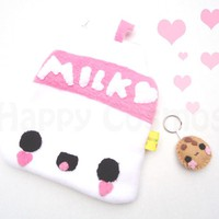 Back to School SALE - Strawberry Milk Pouch - Kawaii Food, Pencil Case, Make Up Bag