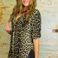 Wildly Tamed Cheetah Print Deep V Neck Blouse