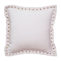 Pale Pink Studded Velvet Throw Pillow