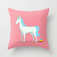 Unicorn Poop Throw Pillow by See Mike Draw
