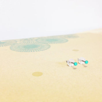 Tiny 2mm Minty Blue Studs - Mini Hypoallergenic Earrings