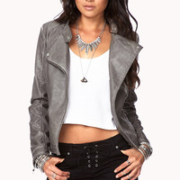 Distressed Faux Leather Moto Jacket