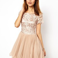 A Wear Sleeveless Lace And Pleat Dress at asos.com