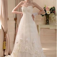 Stunning Satin&Tulle A-line Sweetheart Neckline Raised Waistline Wedding Dress