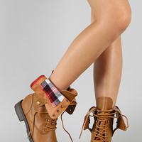 Terra-01 Plaid Lace Up Military Boot