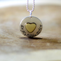 Sterling silver personalized love charm pendant with brass heart