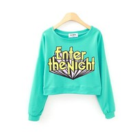 Enter the Night Crop Casual Sweatshirt