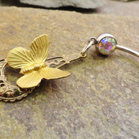 Butterfly Belly Button Jewelry Rings by MidnightsMojo on Etsy