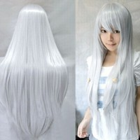 Taobaopit Long Cosplay Party Silver White Mixed Straight Wig 100cm:Amazon:Clothing