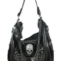 Glossy Black Gunmetal Studded Rhinestone Skull Handbag:Amazon:Clothing