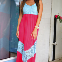 All Outta Love Maxi Dress: Mint/Coral | Hope's