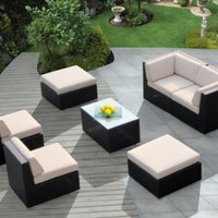 Genuine Ohana Outdoor Patio Wicker Furniture 7pc All Weather Gorgeous Couch Set with BEIGE CUSHION:Amazon:Patio, Lawn & Garden