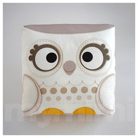 Decorative Pillow, Owl Pillow, Snow Owl, Woodland Animal, White, Throw Pillow, Cushion, Kawaii, Room Decor, Owl Decor, Gift, Toys, 7 x 7""