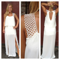 White Double Slit Jill Maxi Dress