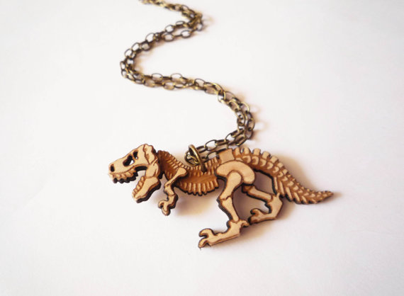 Dinosaur Necklace by Vectorcloud by Vectorcloud on Etsy