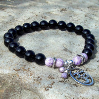 Black Onyx with Om Charm - Stretch Meditation Beaded      Bracelet