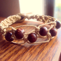 Beaded Macrame Hemp Bracelet Wood Bead Jewelry