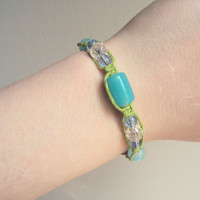 One of a Kind Hemp Jewelry Glass Beaded Hemp Bracelet Lime Green