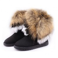 Ladies Bohemian Winter Furry Boots with Long Fur