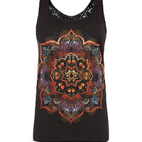 Black Kaleidoscope Print Crochet Back Vest