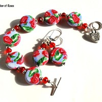 Red Rose Bracelet with Earrings Blue Bead Handmade Jewelry Set
