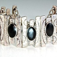 """Date Night"" - Oxidized Silver and Onyx Cuff Bracelet"