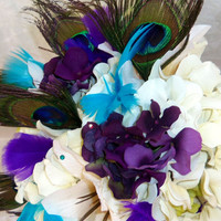 Peacock Feather Ivory Purple Hydrangea Wedding Bouquet- Custom Order