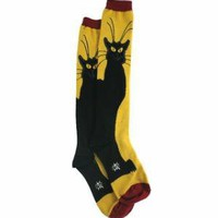 Sock It To Me Black Cat Knee High Socks - Yellow - Punk.com